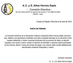 Comunicado Zapla