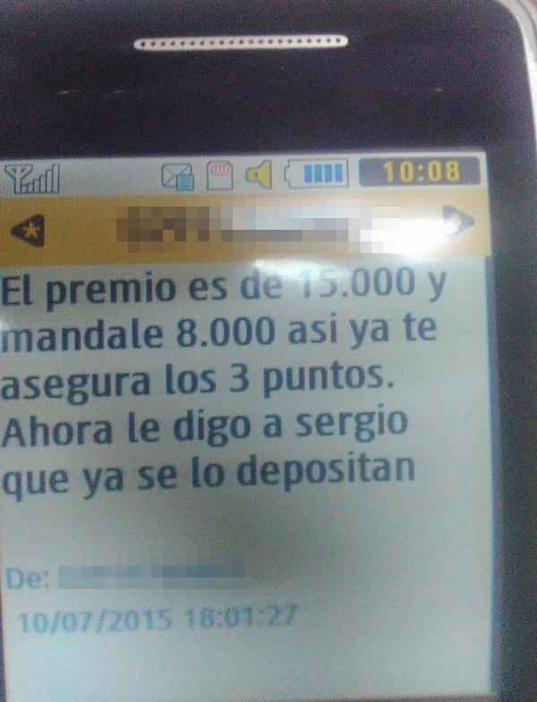 Mensaje de texto Árbitros Sergio Testa