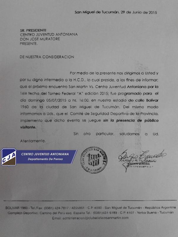 Fax del gerente general de San Martin al presidente Muratore